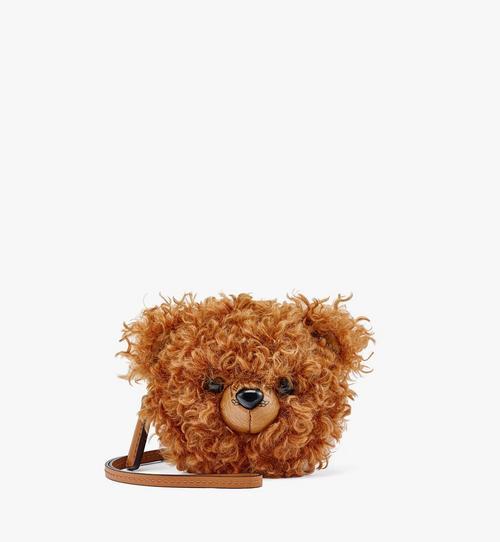 Bear Pouch Charm in Faux Fur Visetos