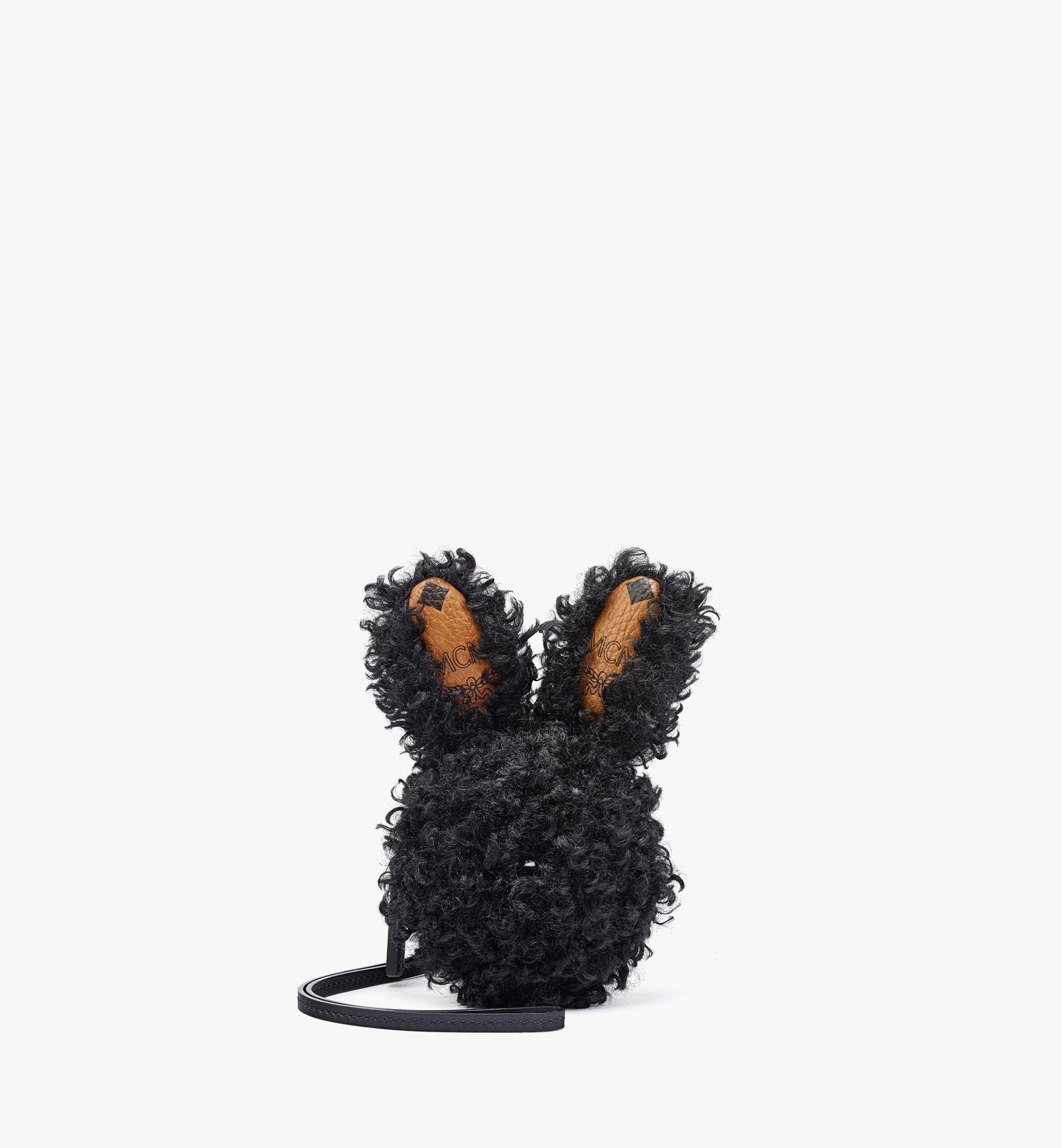 MCM Rabbit Pouch Charm in Faux Fur Visetos Black MXZBASX02BK001 Alternate View 1
