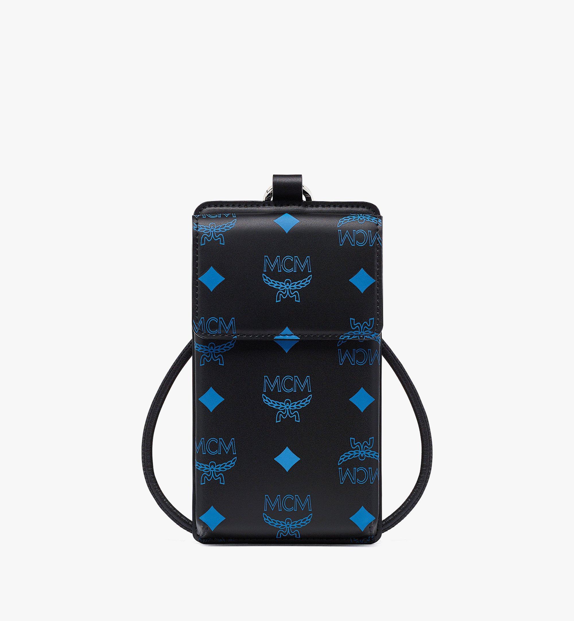 MCM เคสโทรศัพท์พร้อมสายคล้องวัสดุหนังลายโลโก้ Color Splash Blue MXZBASX05H9001 มุมมองอื่น 1