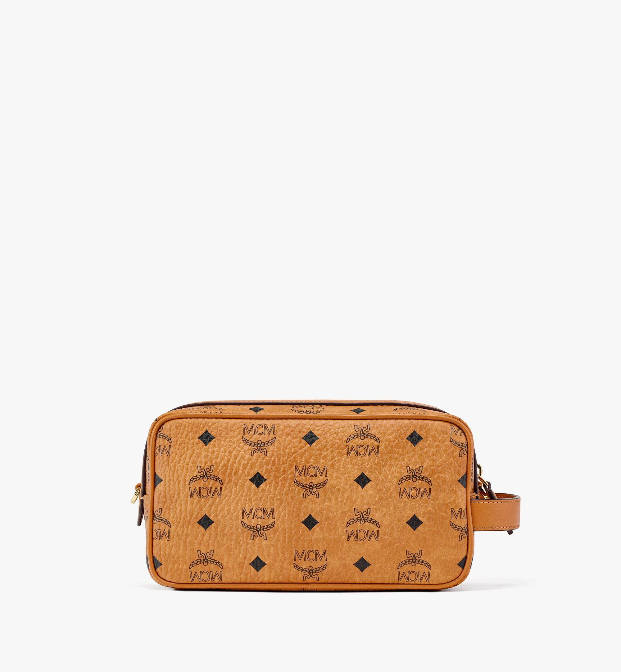 MCM Upcycling Project Wash Bag in Visetos Cognac MXZBAUP01CO001 Alternate View 3