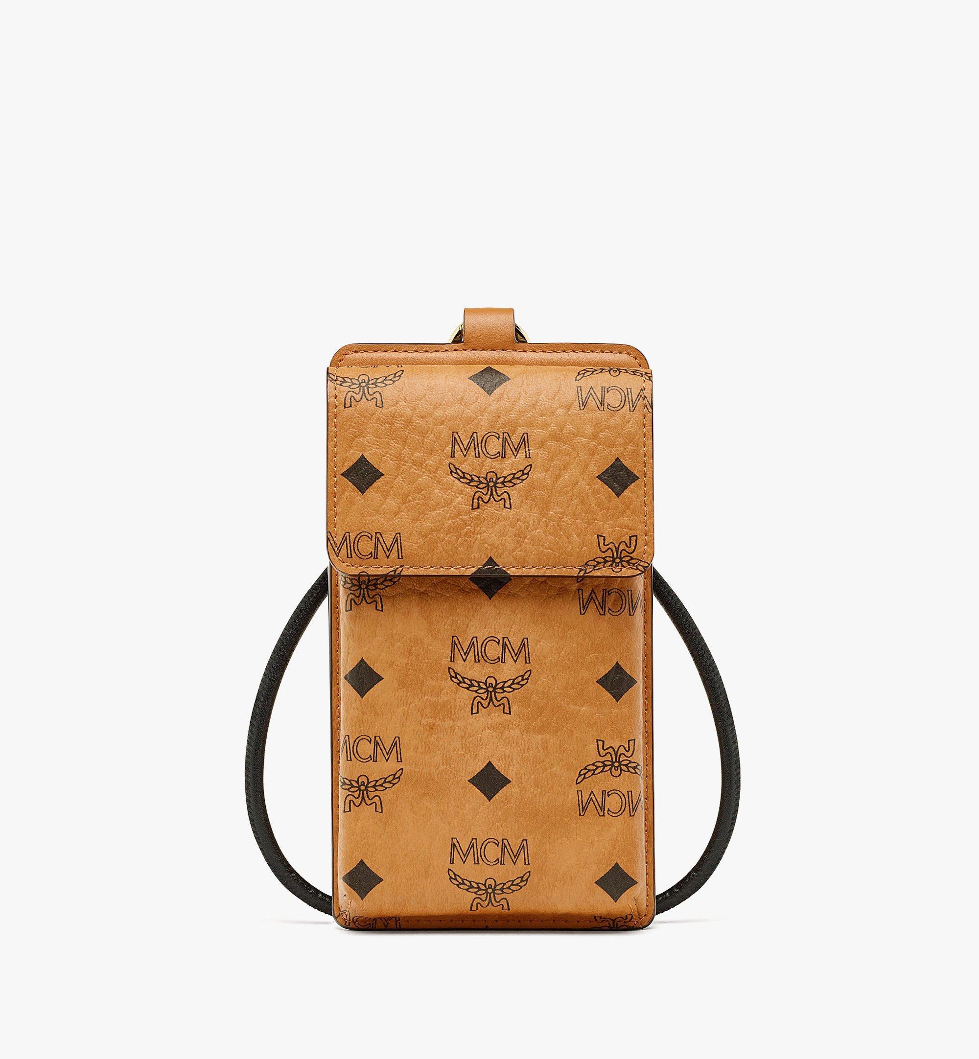 MCM Lanyard Phone Case in Visetos Original Cognac MXZBAVI01CO001 Alternate View 1