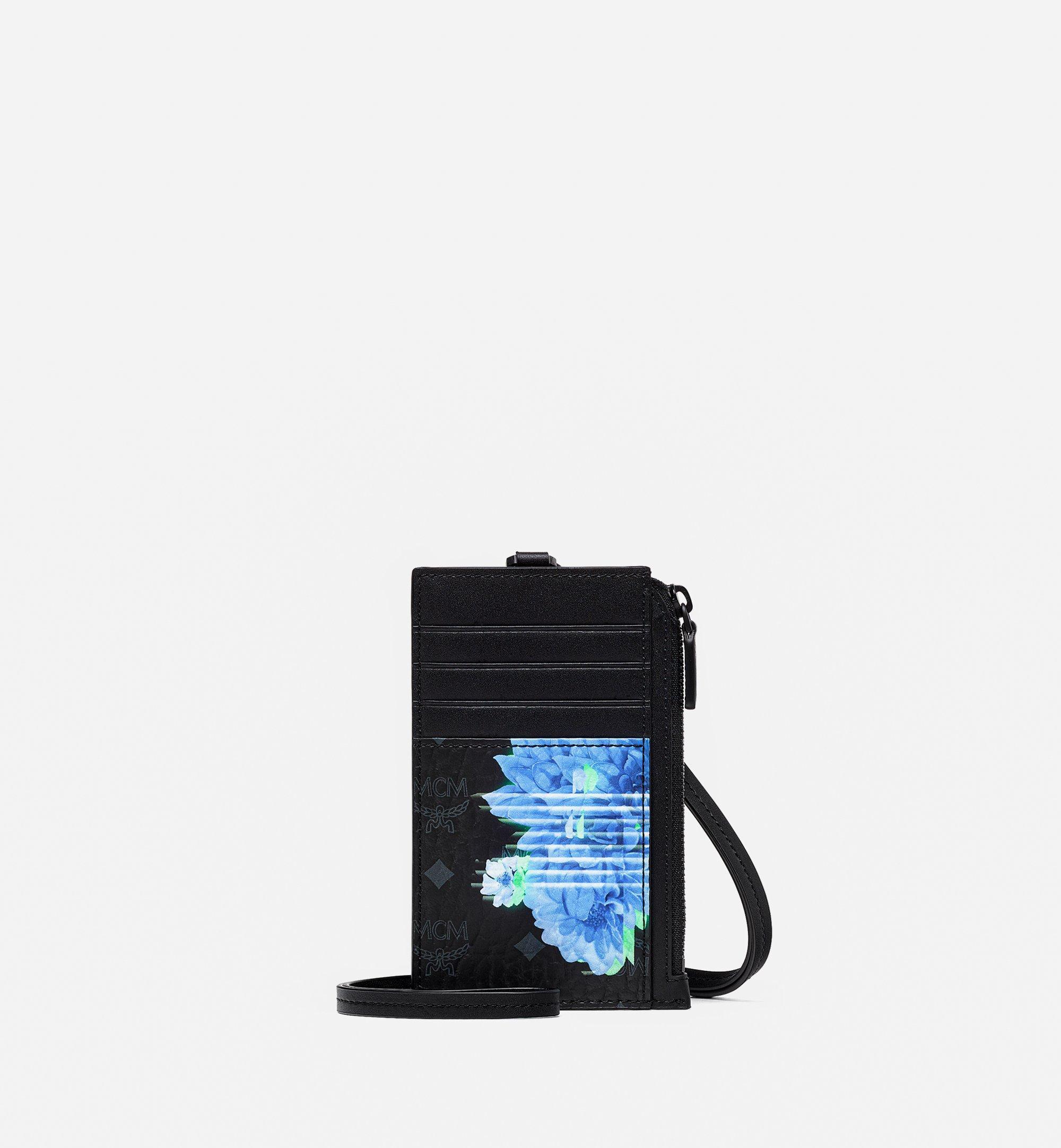 MCM Lanyard Card Holder in Tech Flower Visetos Black MXZBSSX04BK001 Alternate View 1