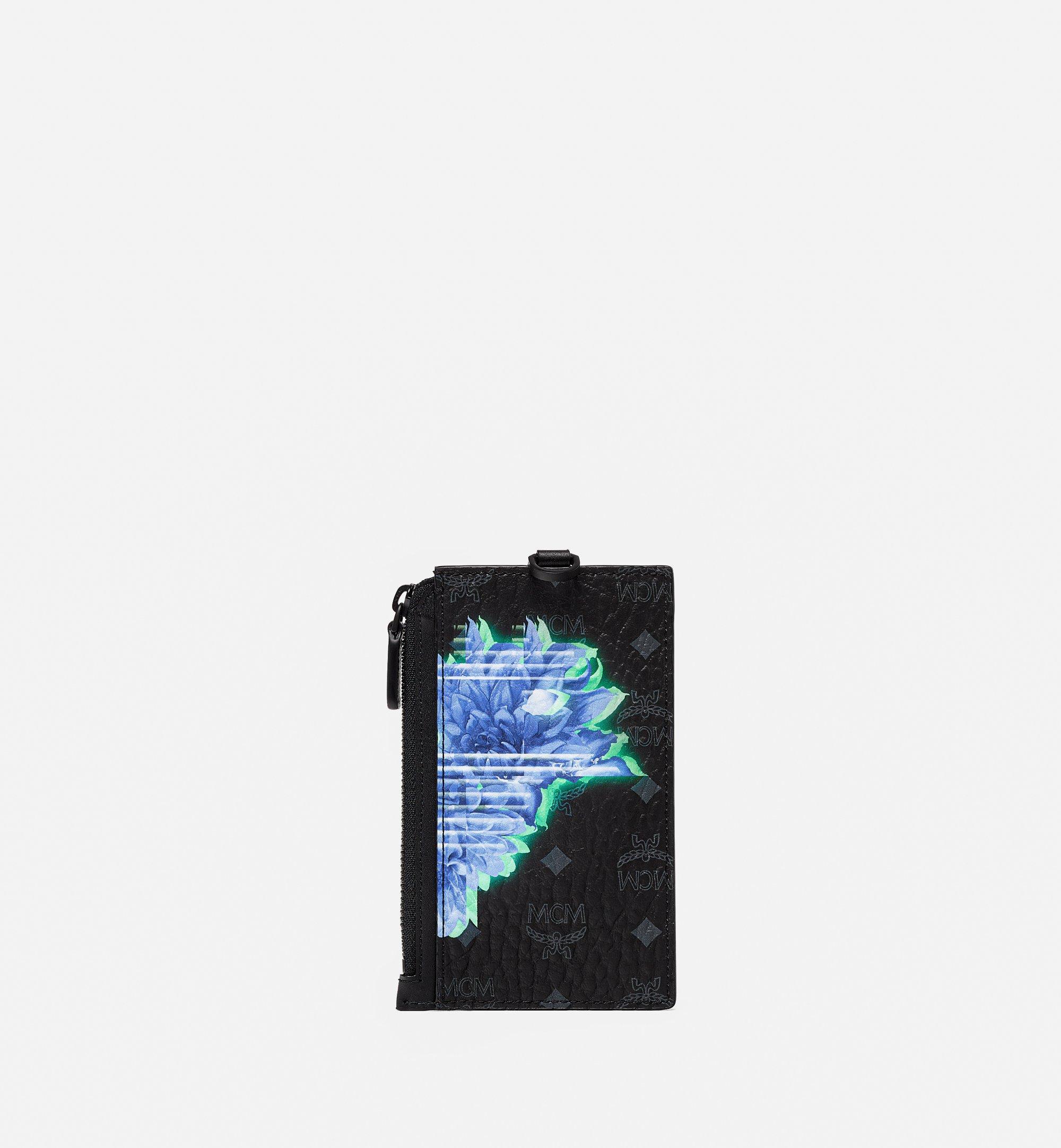 MCM Lanyard Card Holder in Tech Flower Visetos Black MXZBSSX04BK001 Alternate View 2