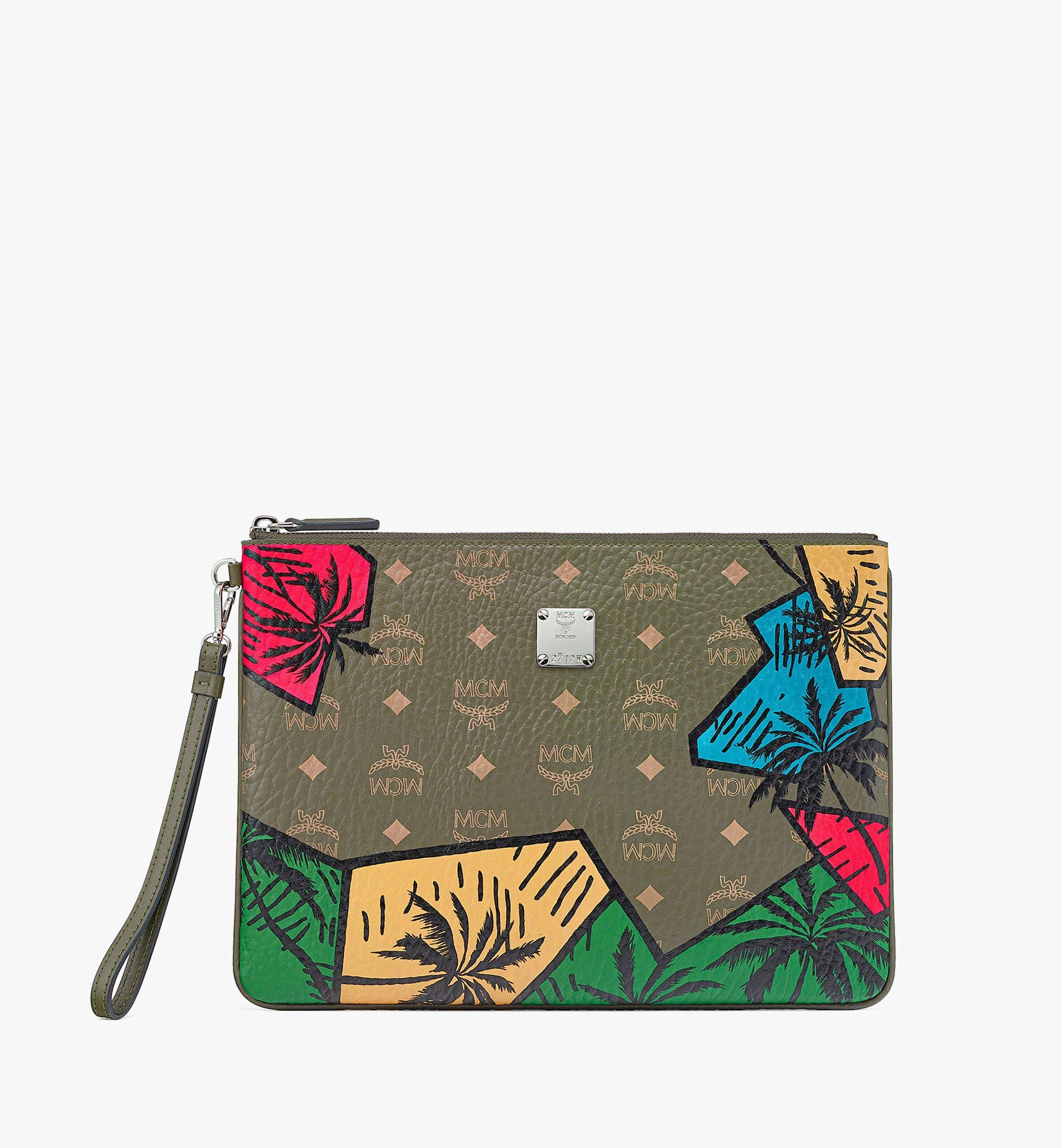 MCM Hawaii Upcycling Project Wristlet Zip Pouch in Visetos Green MXZBSUP02JH001 Alternate View 1