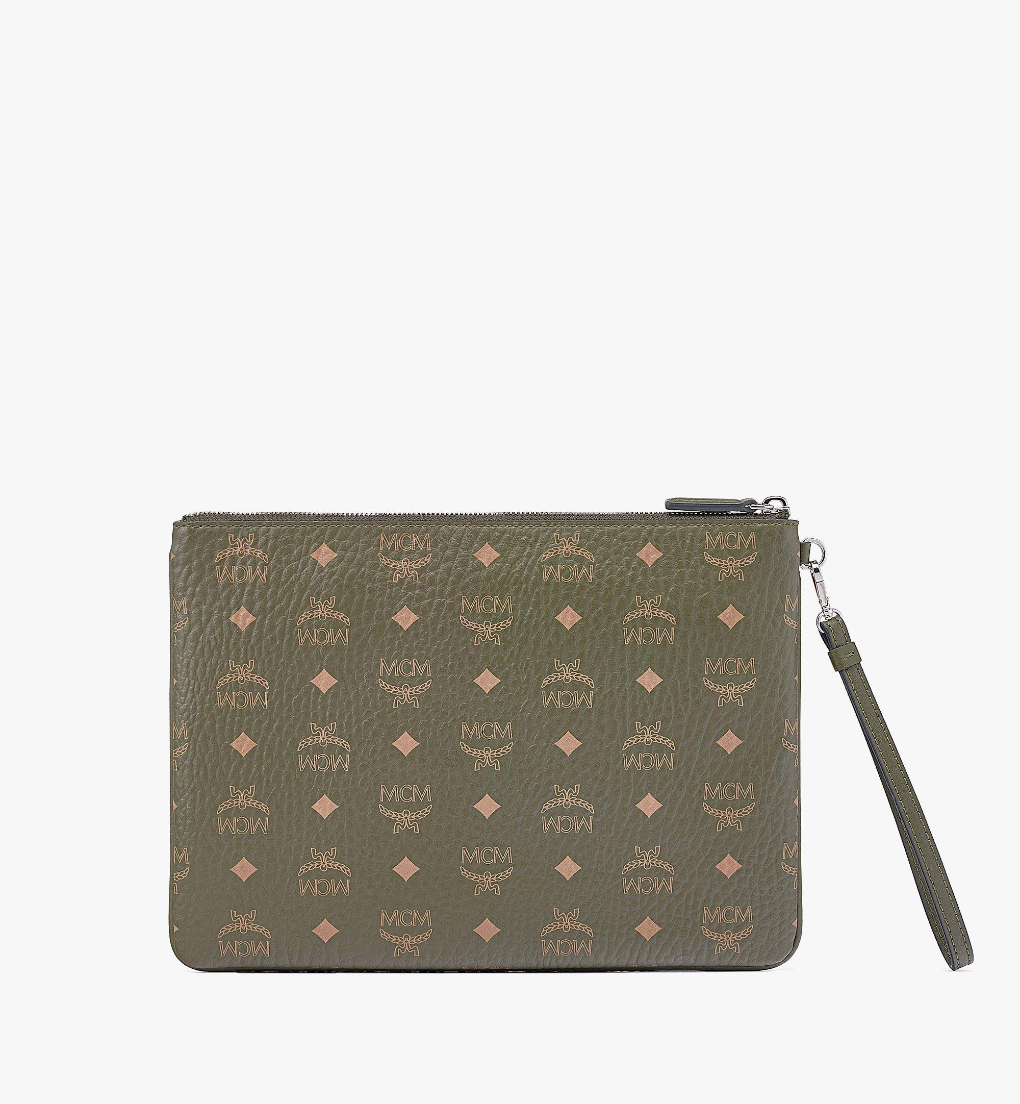 MCM Hawaii Upcycling Project Wristlet Zip Pouch in Visetos Green MXZBSUP02JH001 Alternate View 2