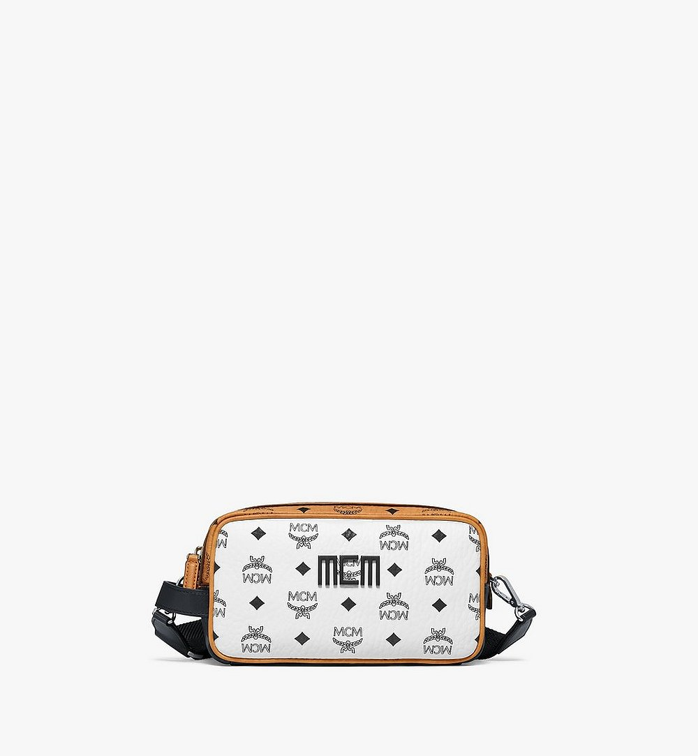 MCM Wash Bag in Visetos Mix White MXZBSVI03WT001 Alternate View 1