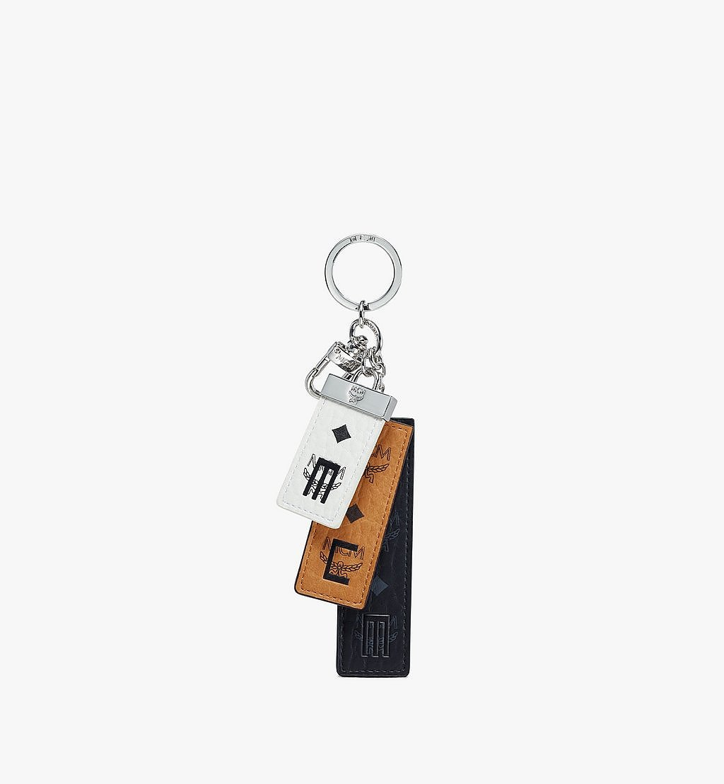 MCM Key Ring in Visetos Mix White MXZBSVI06WT001 Alternate View 1