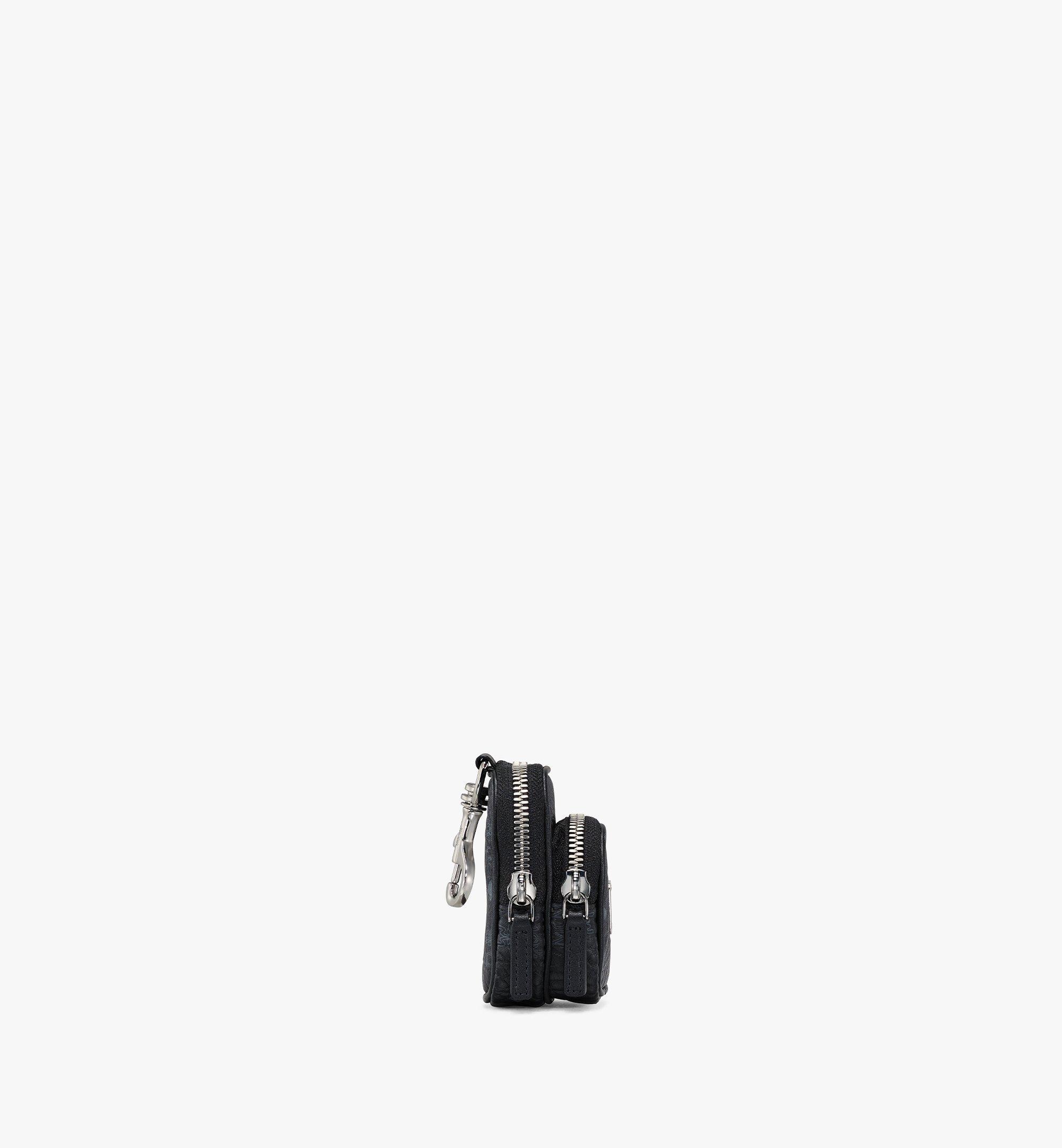 MCM Pouch Charm w/ Pocket in Visetos Original Black MXZBSVI07BK001 Alternate View 1