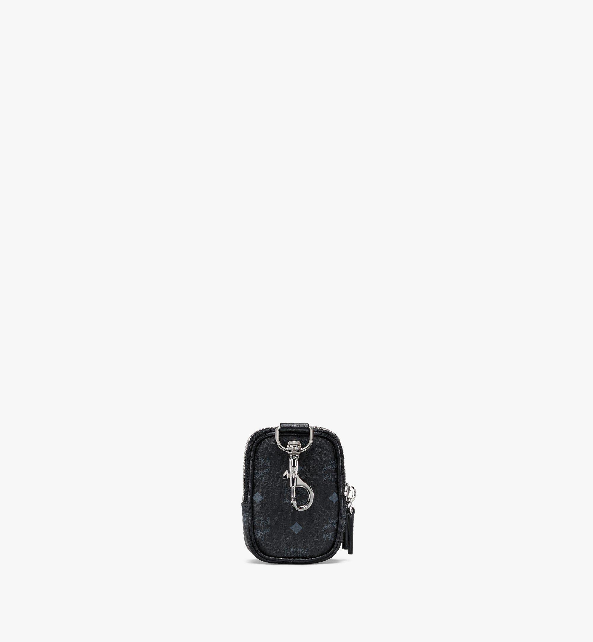 MCM Pouch Charm w/ Pocket in Visetos Original Black MXZBSVI07BK001 Alternate View 3