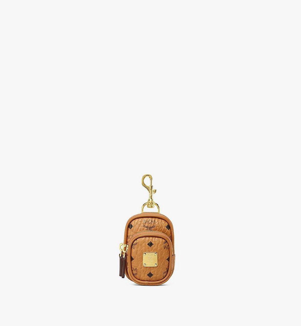 MCM Pouch Charm w/ Pocket in Visetos Original Cognac MXZBSVI07CO001 Alternate View 1