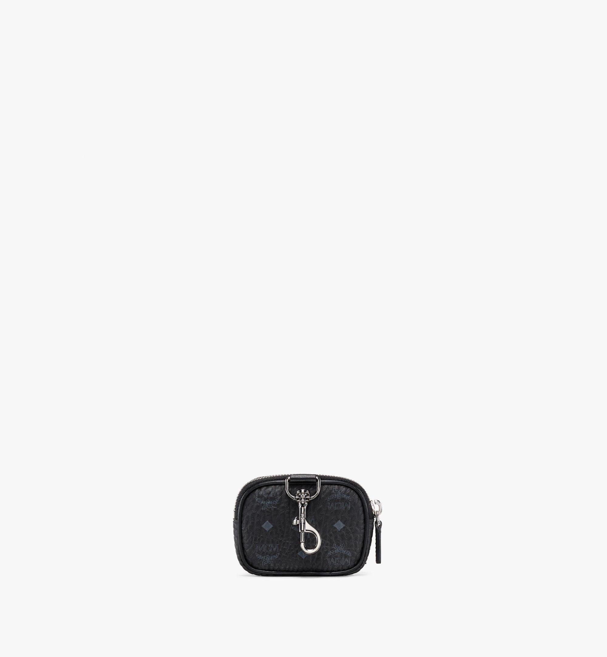 MCM E/W Pouch Charm w/ Pocket in Visetos Original Black MXZBSVI08BK001 Alternate View 3