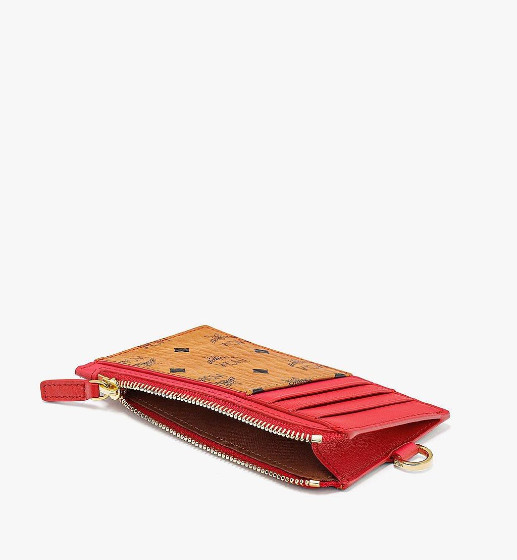 MCM Lanyard Card Holder in Visetos Original Red MXZBSVI11R4001 Alternate View 1