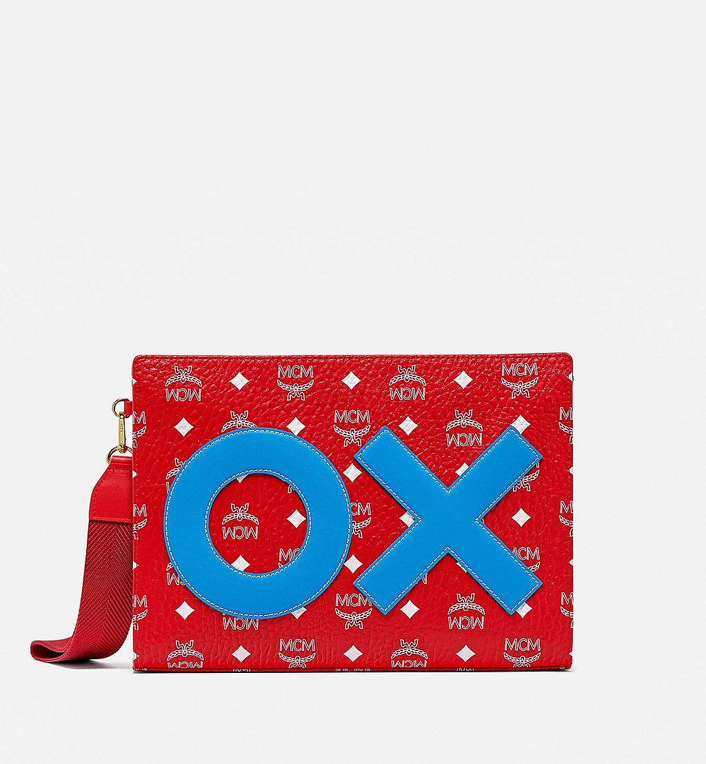 MCM Standing Wristlet Zip Pouch in New Year Visetos Red MXZBSXL01AV001 Alternate View 1