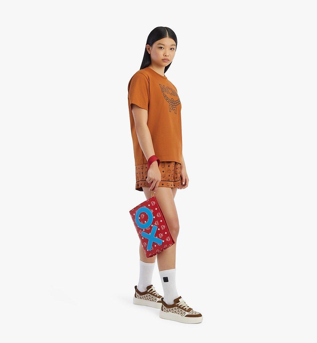 MCM Standing Wristlet Zip Pouch in New Year Visetos Red MXZBSXL01AV001 Alternate View 3