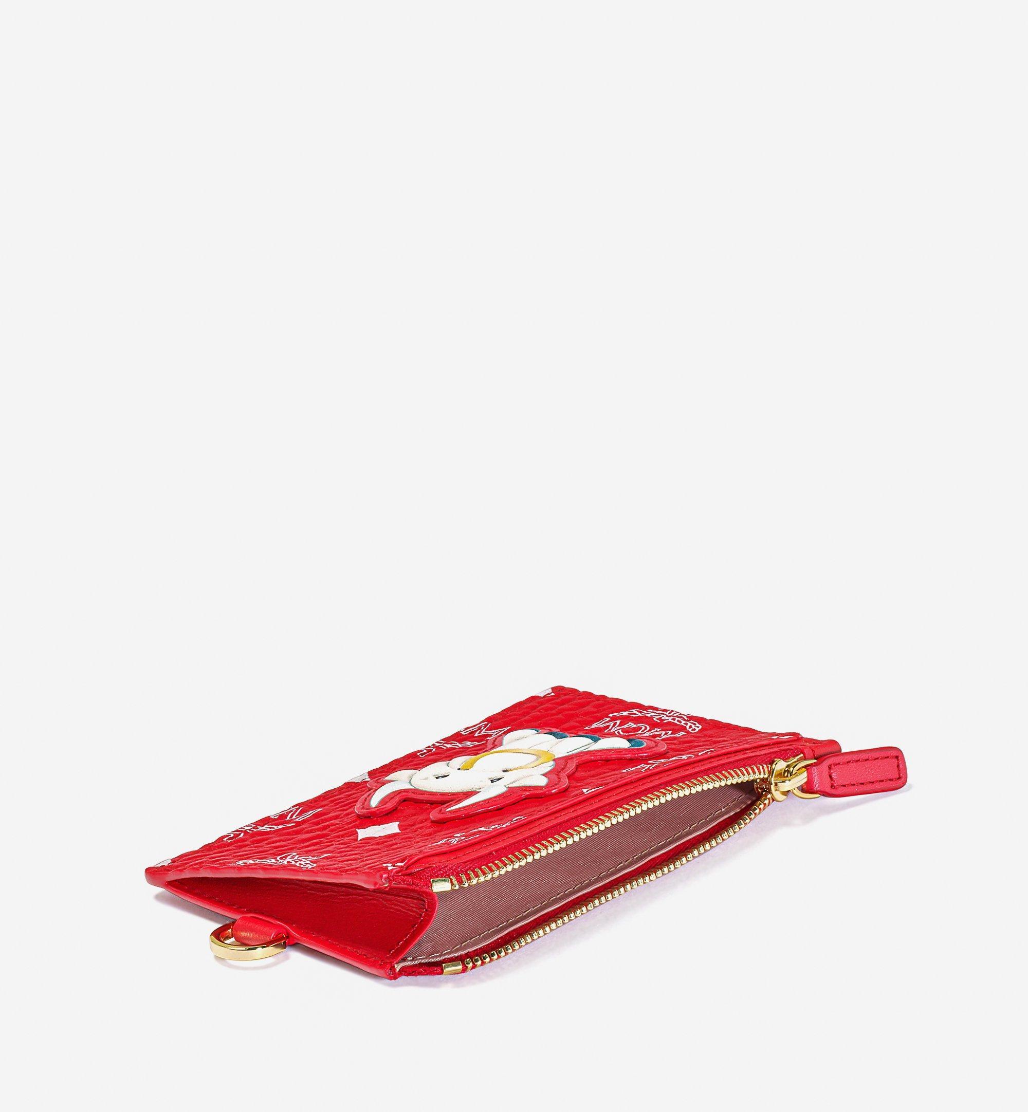 MCM Lanyard Card Holder in New Year Visetos Red MXZBSXL02AV001 Alternate View 1