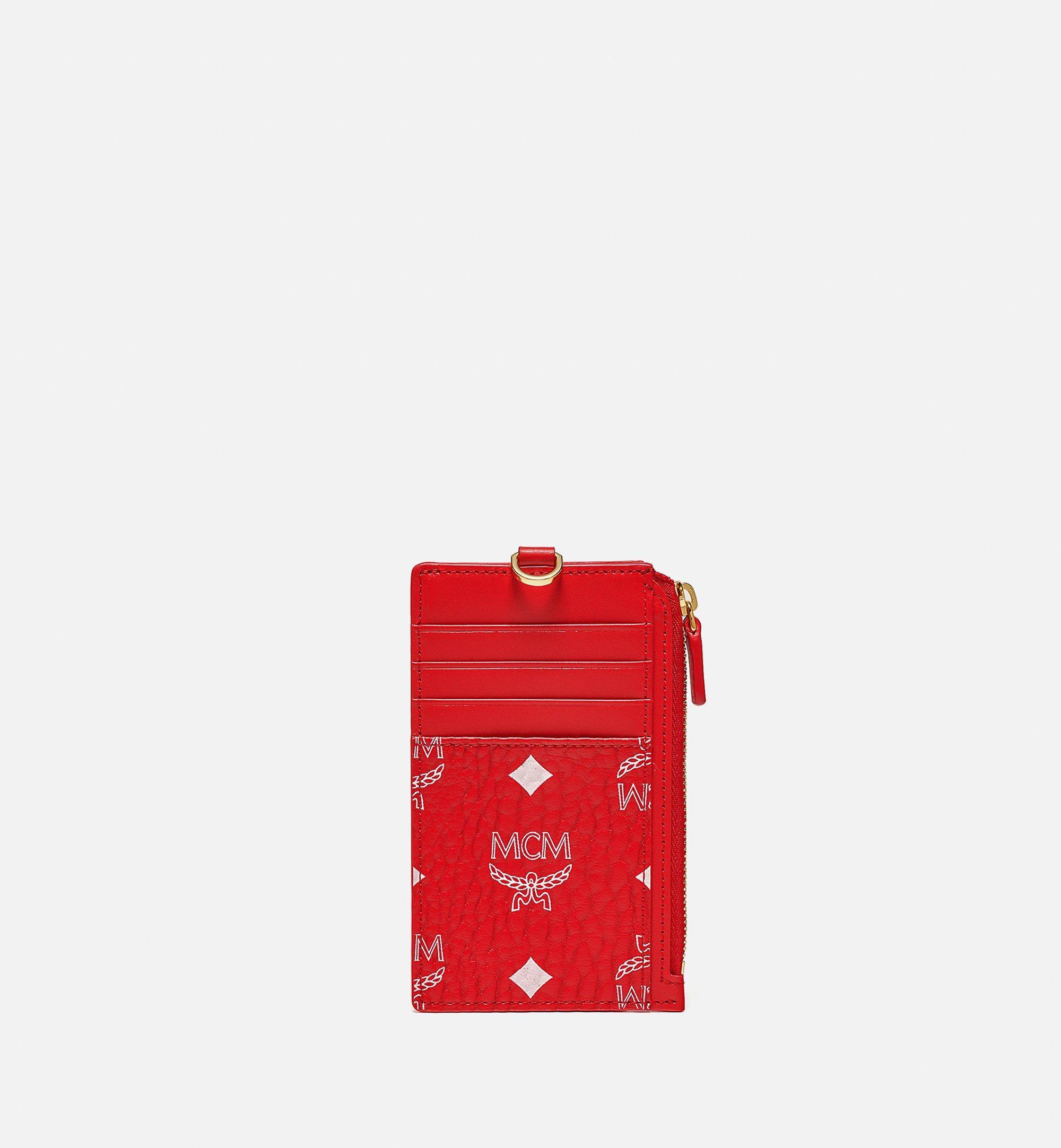 MCM Lanyard Card Holder in New Year Visetos Red MXZBSXL02AV001 Alternate View 2