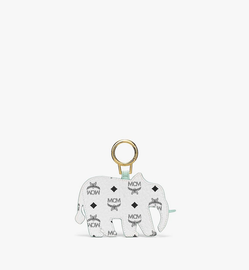 MCM MCM Zoo 2D Elephant Charm in Visetos White MXZBSXL03WT001 Alternate View 1