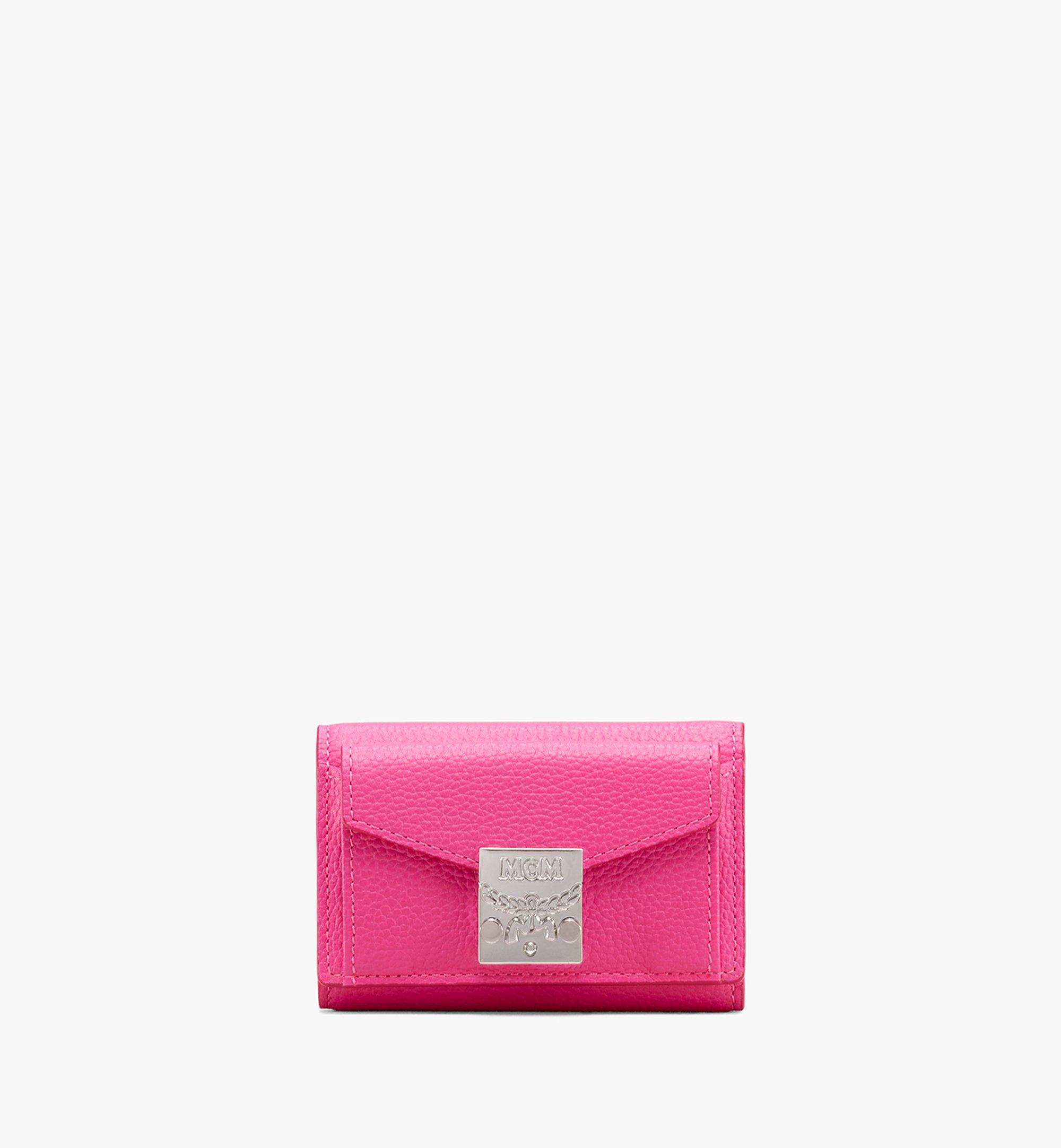 MCM Patricia Three-Fold Wallet in Park Avenue Leather Pink MYA9APA67QS001 Alternate View 1