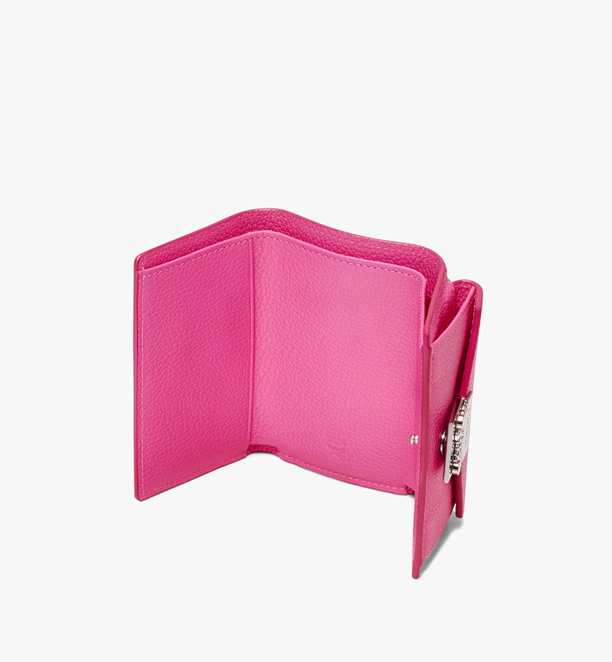 MCM Patricia Three-Fold Wallet in Park Avenue Leather Pink MYA9APA67QS001 Alternate View 3