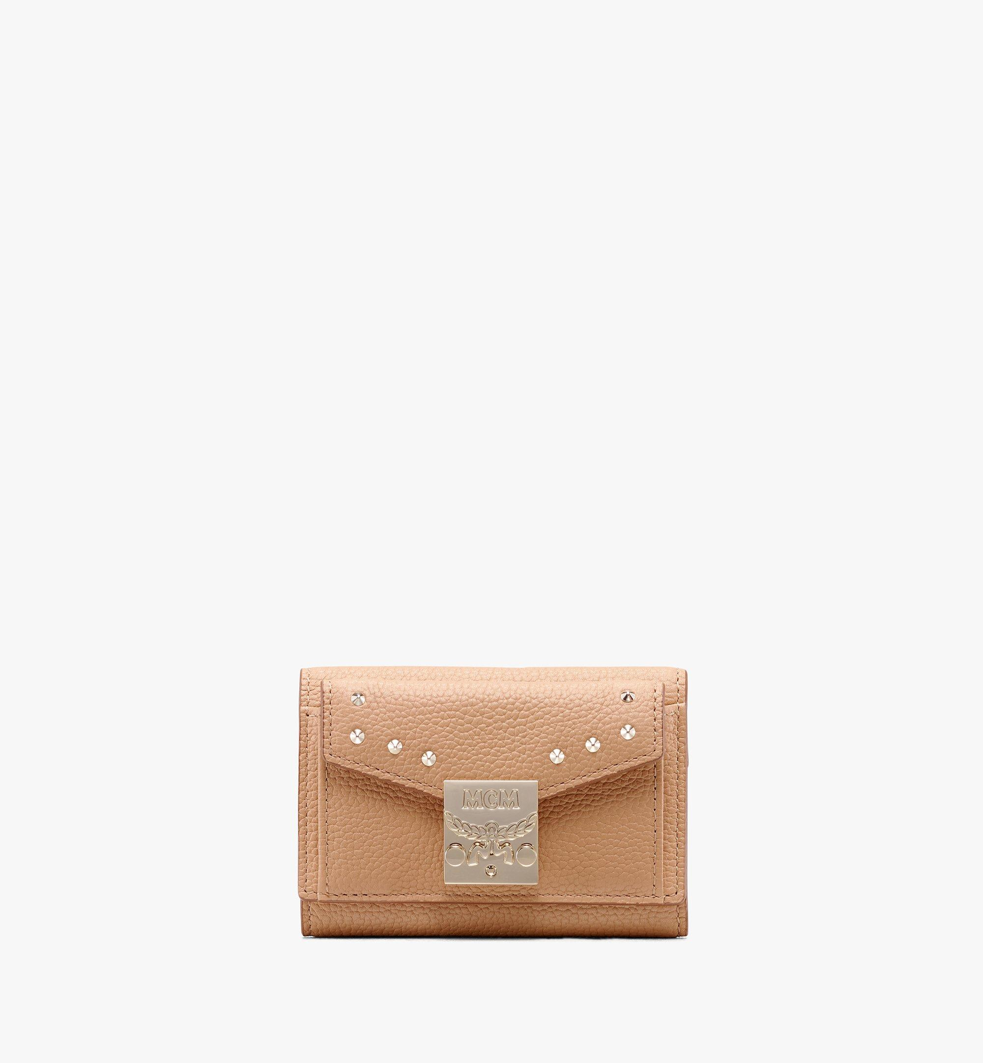 MCM Patricia Three-Fold Wallet in Studded Park Ave Leather Beige MYA9APA86BC001 Alternate View 1