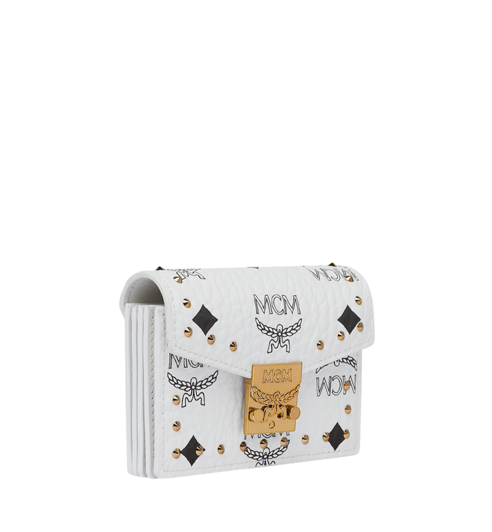 MCM Patricia Card Holder in Studded Outline Visetos White MYA9SPA81WT001 Alternate View 2