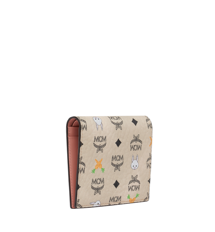 MCM Two Fold Flat Wallet in Rabbit Carrot Visetos AlternateView2