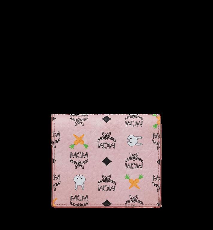 MCM Two Fold Flat Wallet in Rabbit Carrot Visetos Alternate View 3
