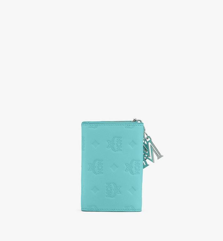 MCM Dreifach gefaltete Klara Mini-Brieftasche aus Leder mit Monogramm Blue MYAASKM01H3001 Alternate View 2
