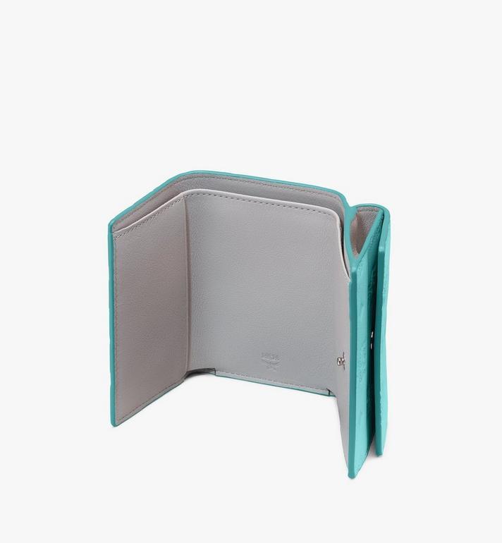 MCM Dreifach gefaltete Klara Mini-Brieftasche aus Leder mit Monogramm Blue MYAASKM01H3001 Alternate View 3