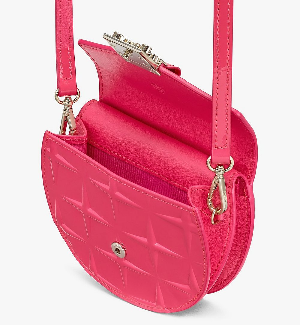 MCM Patricia Round Crossbody Wallet in Diamond Patent Leather Pink MYAASPA02QE001 Alternate View 2