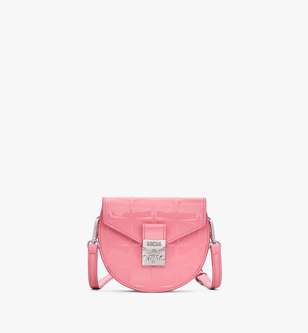 MCM Patricia Round Crossbody Wallet in Diamond Patent Leather Pink MYAASPA02QG001 Alternate View 1