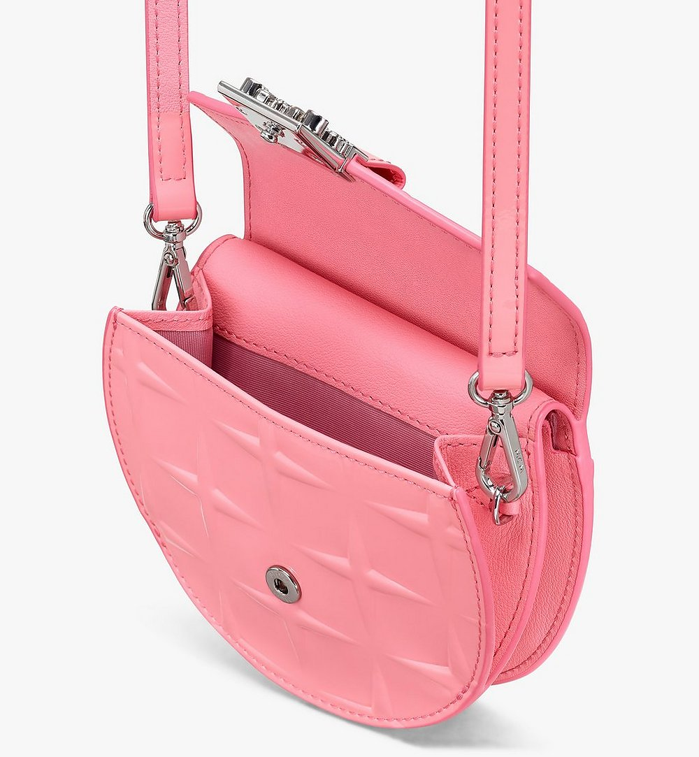 MCM Patricia Round Crossbody Wallet in Diamond Patent Leather Pink MYAASPA02QG001 Alternate View 2