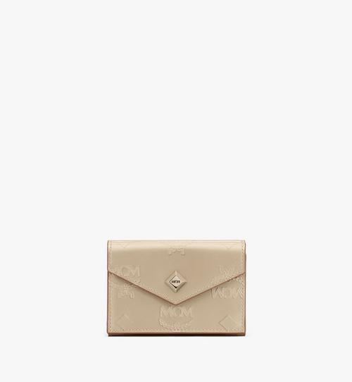 Mini porte-cartes en cuir monogrammé métallisé