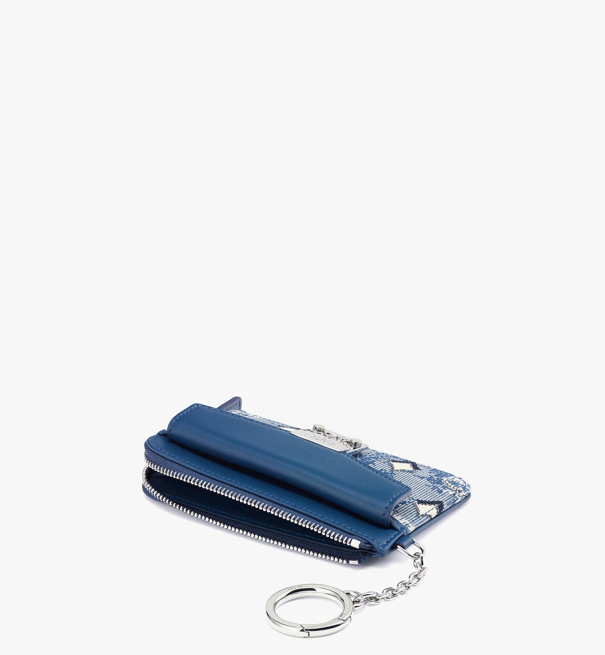 MCM Zip Card Case in Vintage Jacquard Monogram Blue MYABATQ01LU001 Alternate View 1
