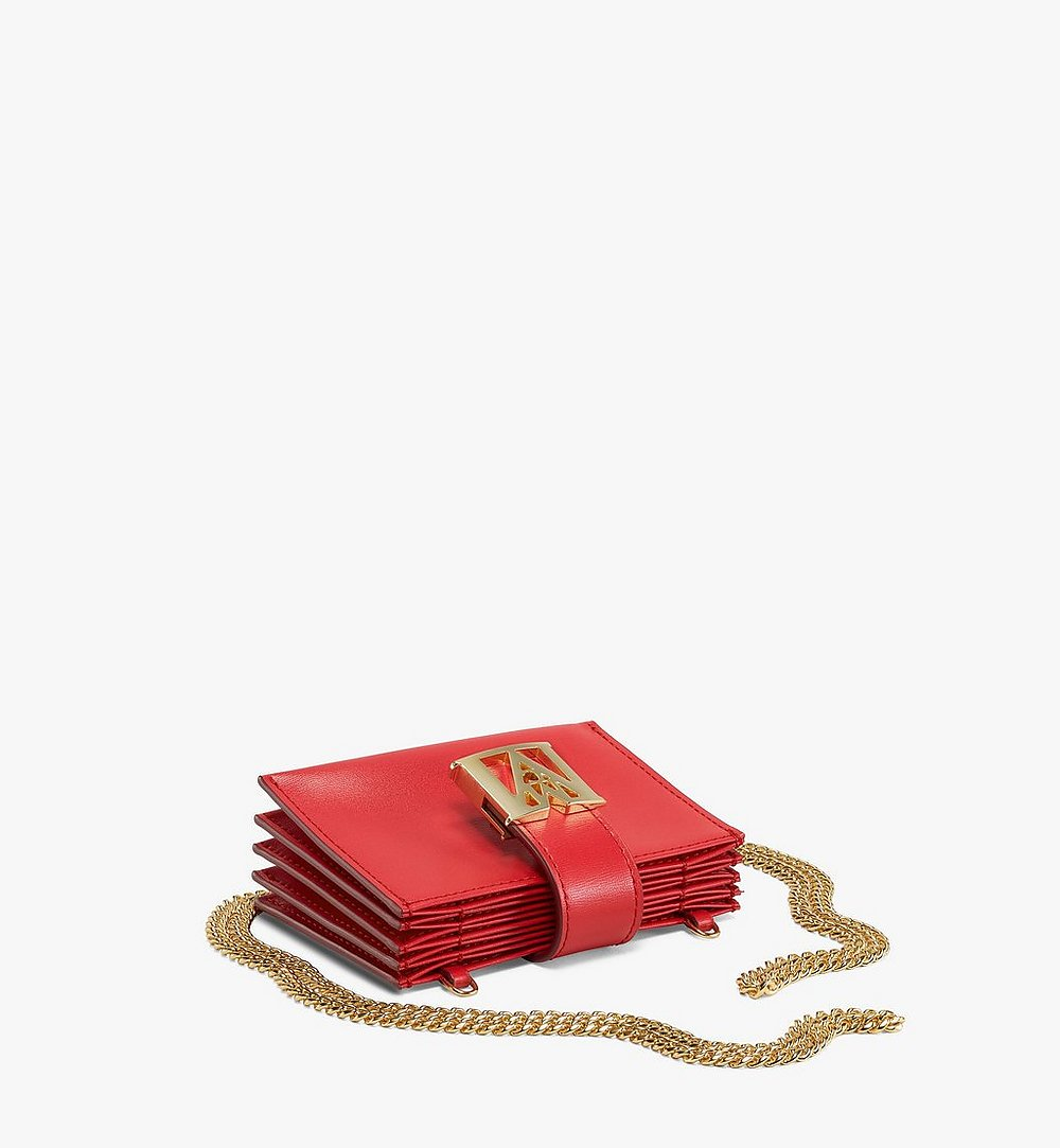 MCM Mena Chain Accordion Card Holder in Embossed Leather Red MYABSLM01R4001 Alternate View 2