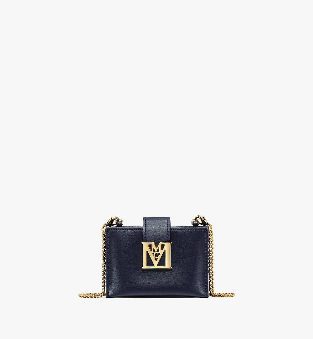 MCM Mena Chain Accordion Card Holder in Embossed Leather Blue MYABSLM01VZ001 Alternate View 1