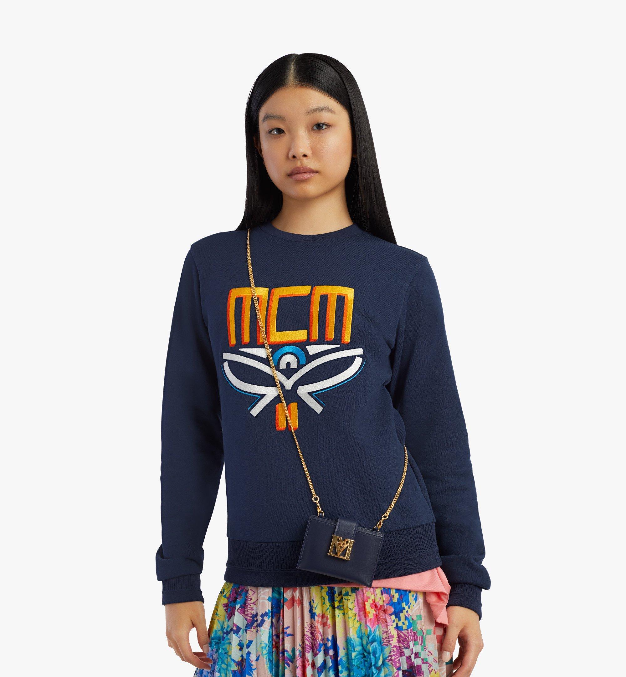 MCM Mena Accordion 壓紋皮革鏈帶卡夾 Blue MYABSLM01VZ001 更多視圖 2