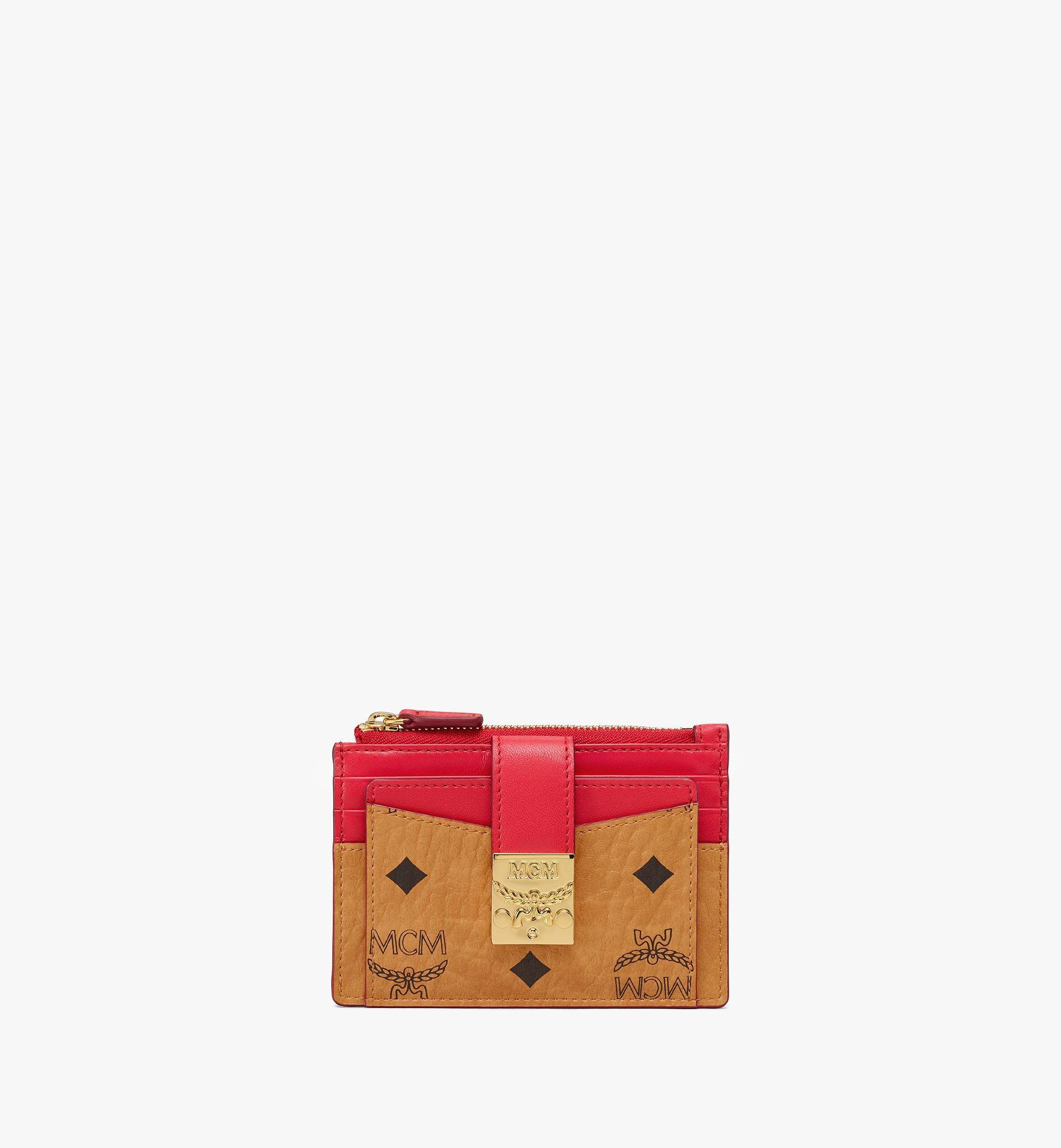 MCM Patricia Zip Card Case in Visetos Leather Block Cognac MYABSPA04R4001 Alternate View 1