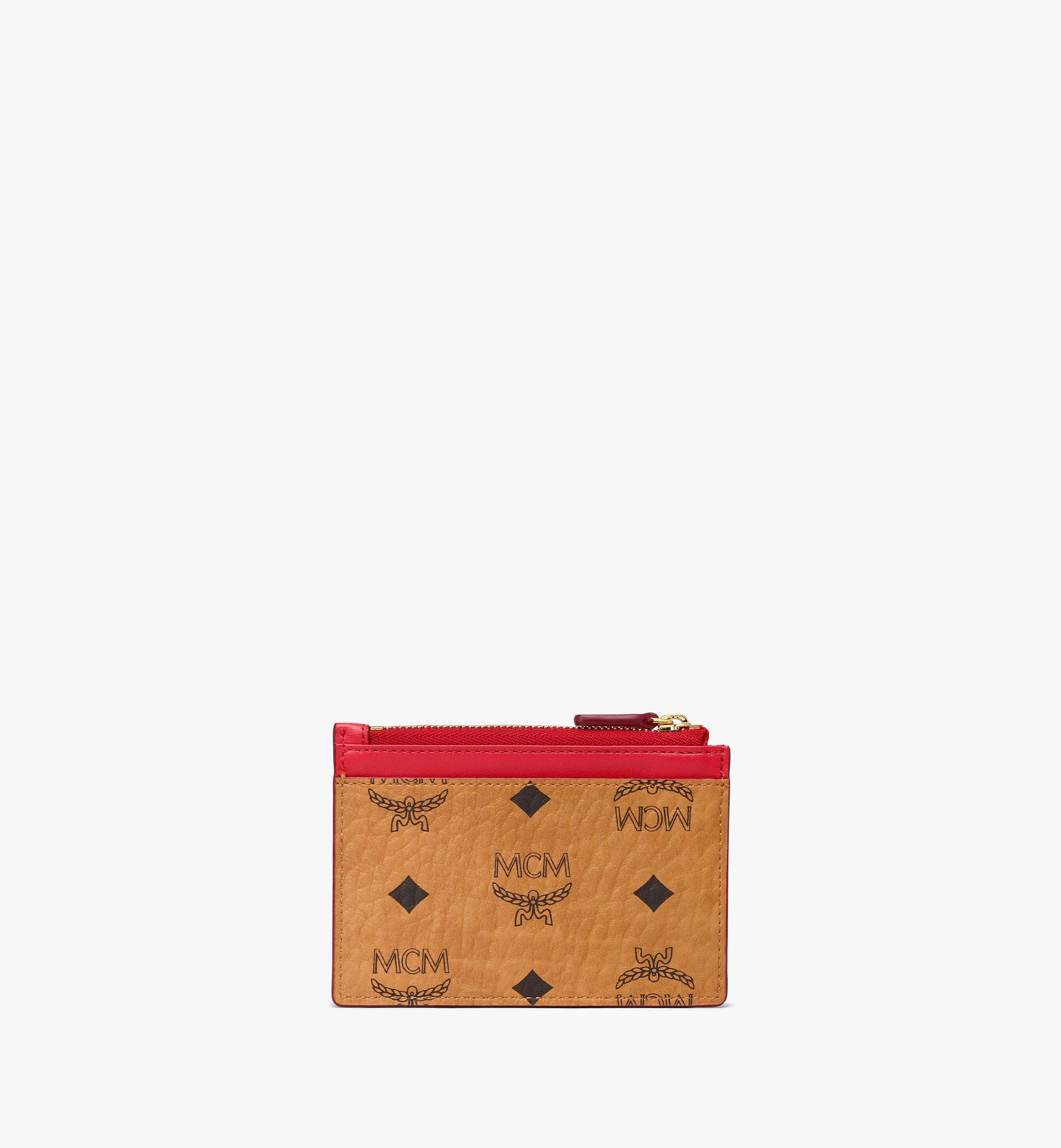 MCM Patricia Zip Card Case in Visetos Leather Block Cognac MYABSPA04R4001 Alternate View 2