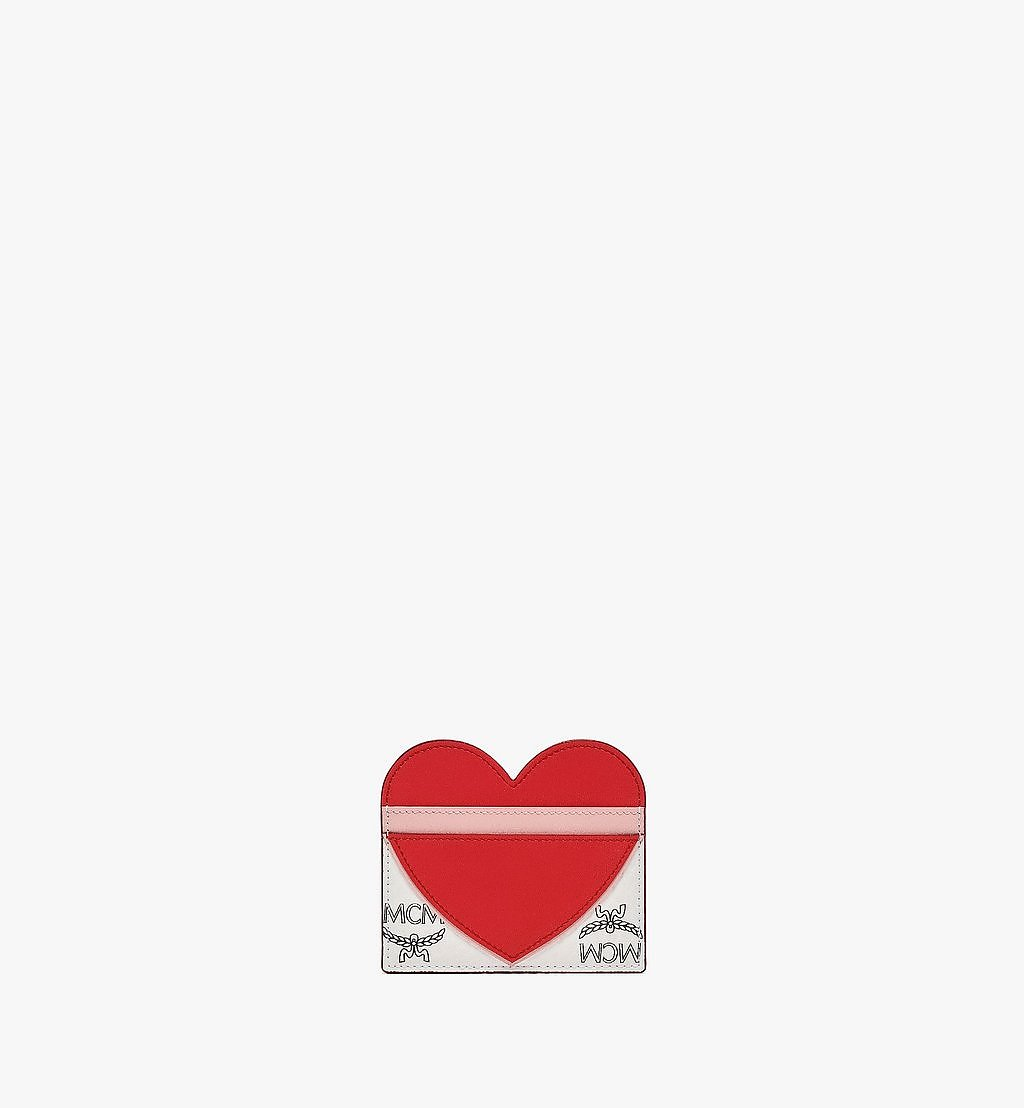 MCM Valentine Card Case in Visetos Leather Mix Red MYABSVI01R4001 Alternate View 1