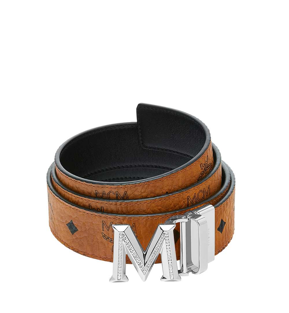 "MCM Claus 3D M Reversible Belt 1.5"" in Visetos Cognac MYB9SVI34CO001 Alternate View 1"
