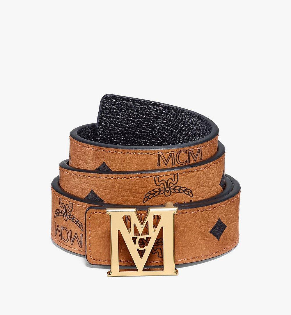 "MCM Mena M Reversible Belt 1"" in Visetos Cognac MYBAALM05CO090 Alternate View 1"