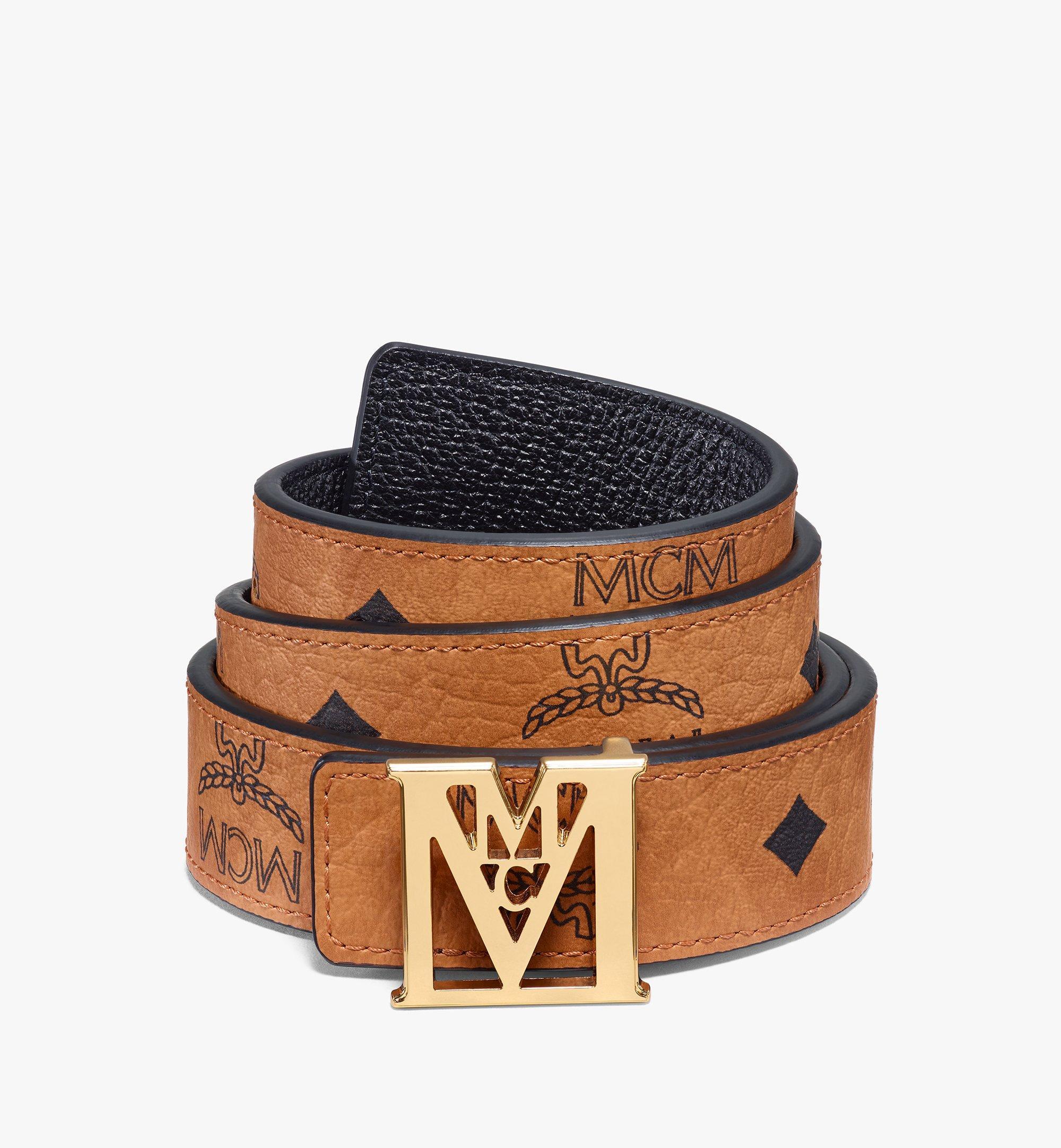 MCM Visetos 系列 Mena M 1 吋可翻轉使用皮帶 Cognac MYBAALM05CO100 更多視圖 1