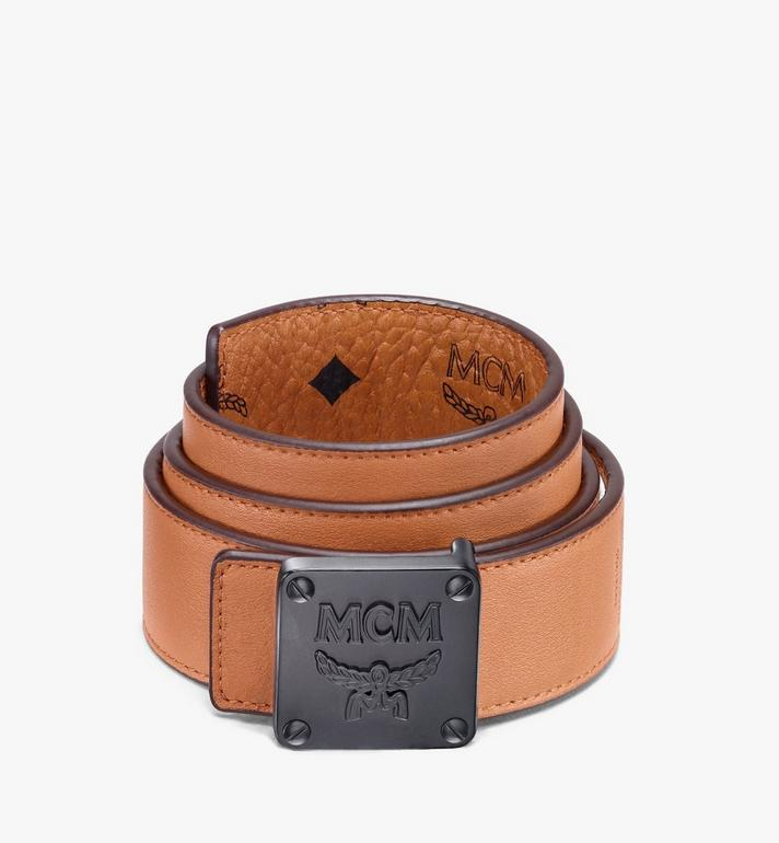 MCM Ceinture réversible MCM Collection 3,81 cm en Visetos Cognac MYBASMM03CO001 Alternate View 2
