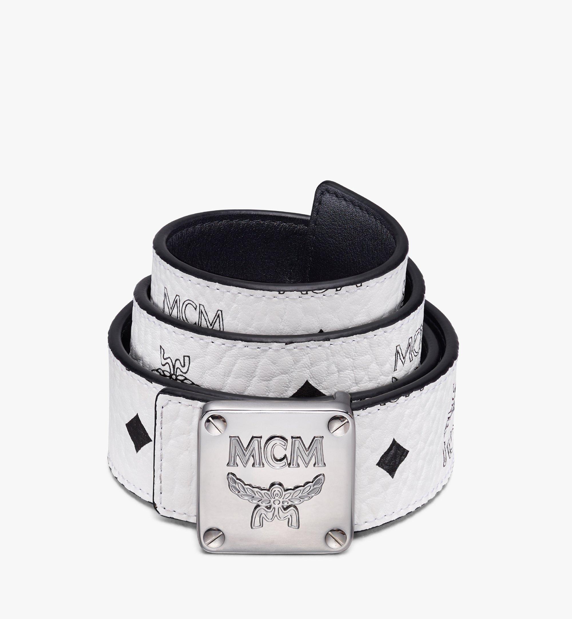 "MCM MCM Collection Reversible Belt 1.5"" in Visetos White MYBASMM08WT001 Alternate View 1"
