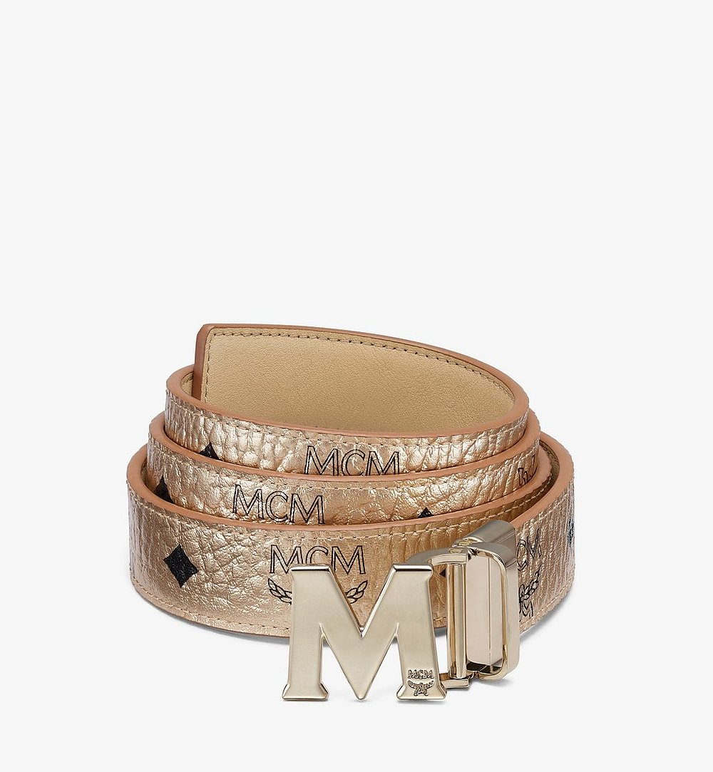 "MCM Claus M Reversible Belt 1"" in Visetos Gold MYBASVI11T1001 Alternate View 1"