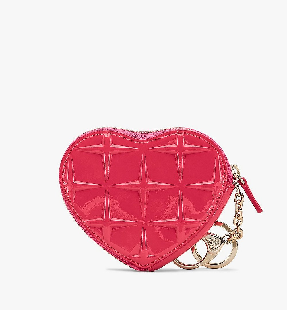 MCM Heart Coin Pouch Charm in Diamond Patent Leather Pink MYIASDQ01QE001 Alternate View 1