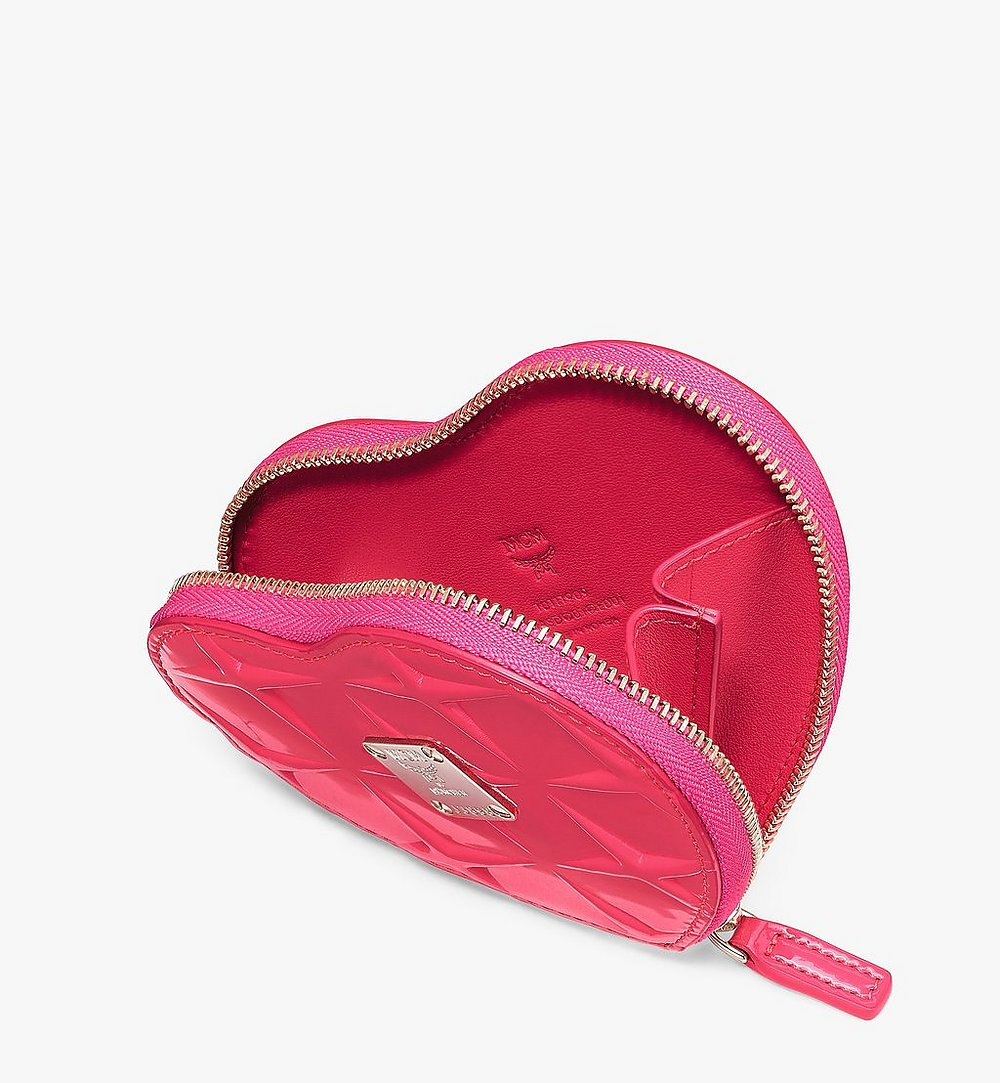 MCM Heart Coin Pouch Charm in Diamond Patent Leather Pink MYIASDQ01QE001 Alternate View 2