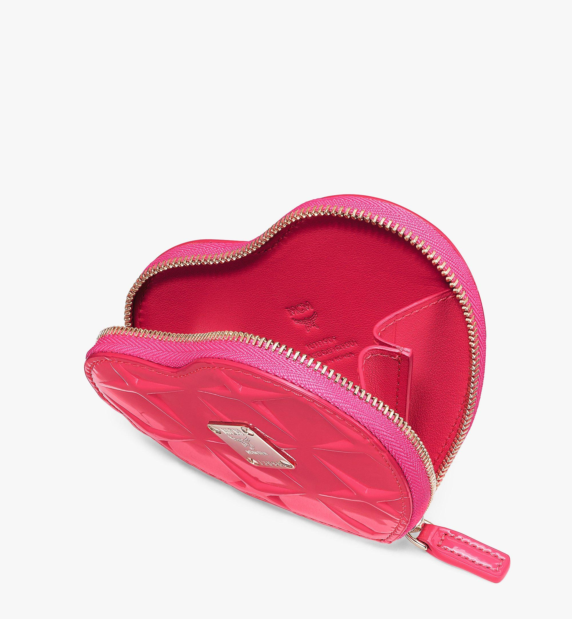 MCM Heart Coin Pouch Charm in Diamond Patent Leather Pink MYIASDQ01QE001 Alternate View 3