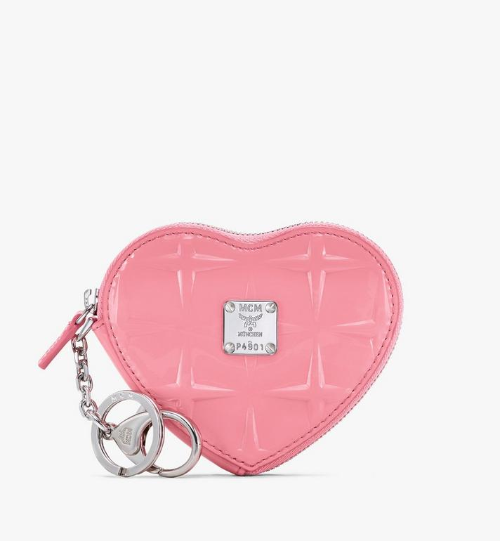 MCM Heart Coin Pouch Charm in Diamond Patent Leather Pink MYIASDQ01QG001 Alternate View 1